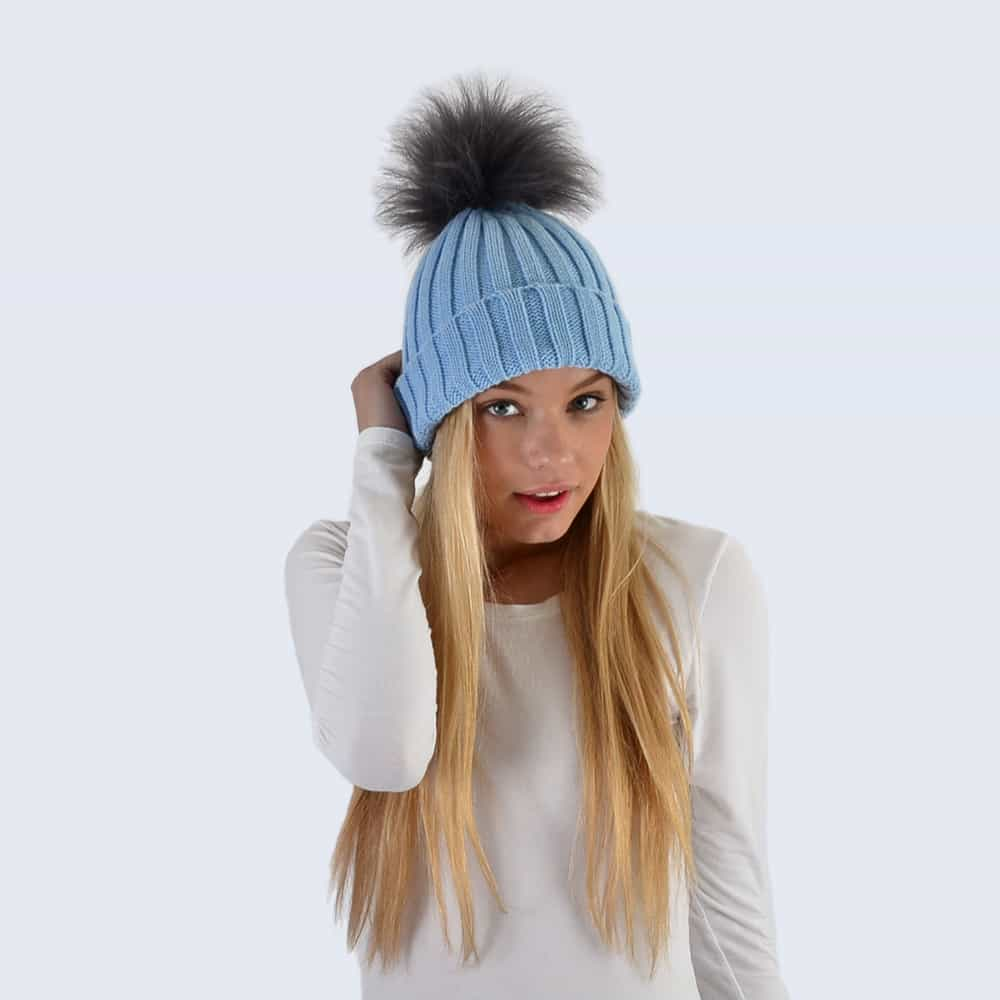 Sky Blue Hat with Grey Faux Fur Pom Pom
