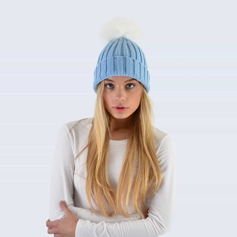Sky Blue Hat with White Faux Fur Pom Pom