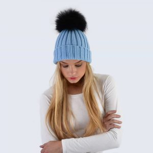 Sky Blue Hat with Black Fur Pom Pom