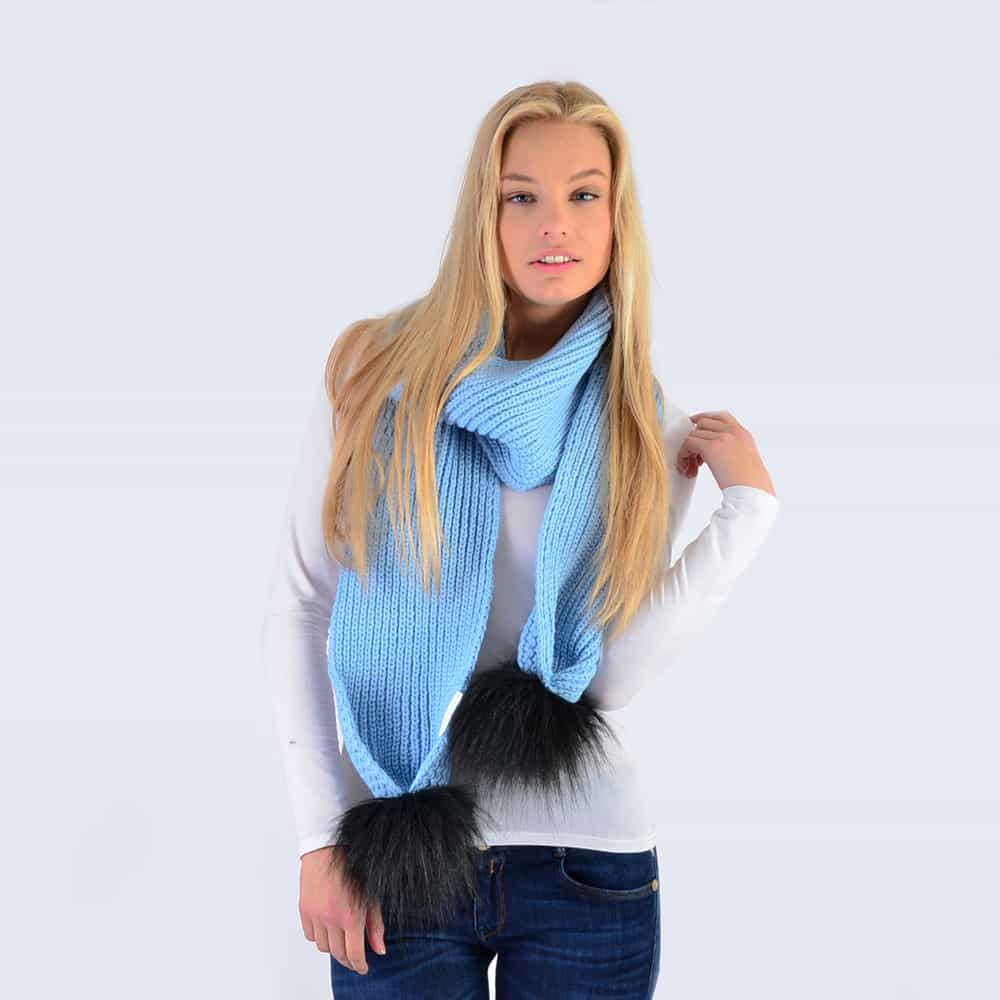 Sky Blue Scarf with Black Faux Fur Pom Poms