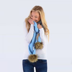 Sky Blue Scarf with Brown Faux Fur Pom Poms