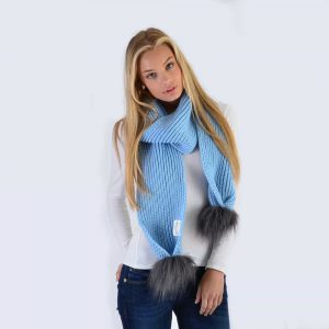 Sky Blue Scarf with Grey Faux Fur Pom Poms