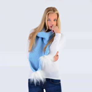 Sky Blue Scarf with White Faux Fur Pom Poms