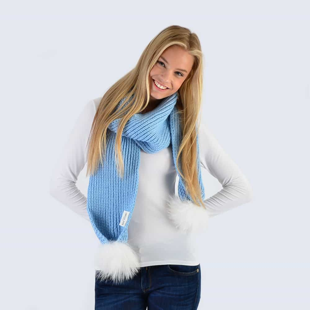 Sky Blue Scarf with White Fur Pom Poms