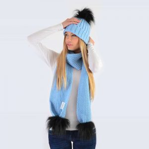Sky Blue Set with Black Faux Fur Pom Poms