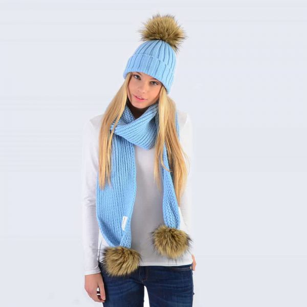 Sky Blue Set with Brown Faux Fur Pom Poms