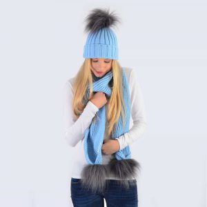 Sky Blue Set with Grey Faux Fur Pom Poms