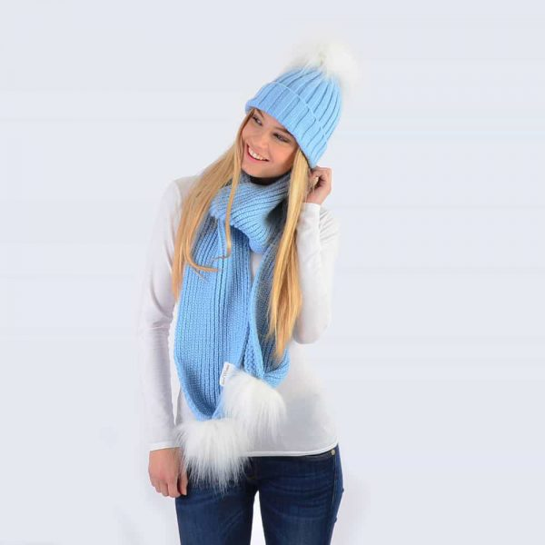 Sky Blue Set with White Faux Fur Pom Poms