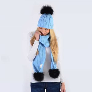 Sky Blue Set with Black Fur Pom Poms