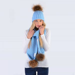 Sky Blue Set with Brown Fur Pom Poms