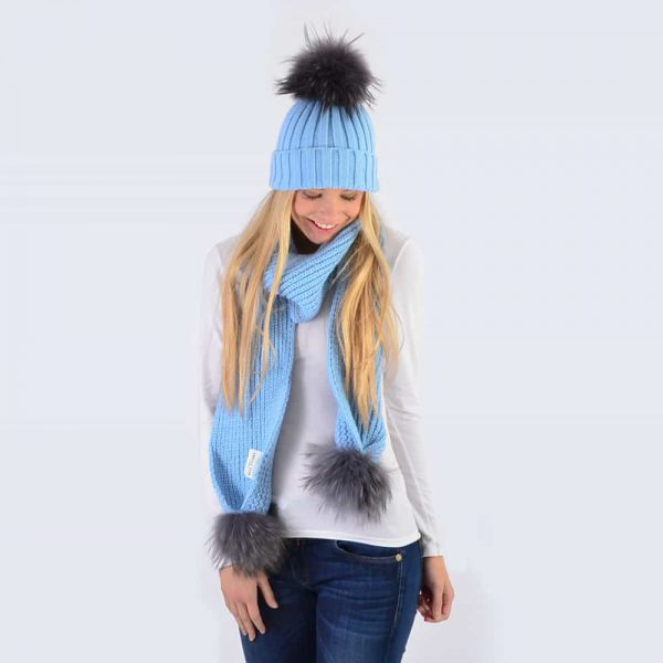 Sky Blue Set with Grey Fur Pom Poms