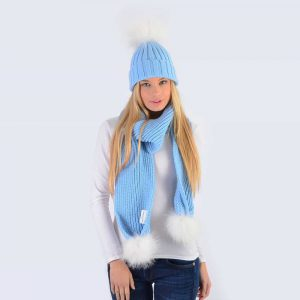 Sky Blue Set with White Fur Pom Poms