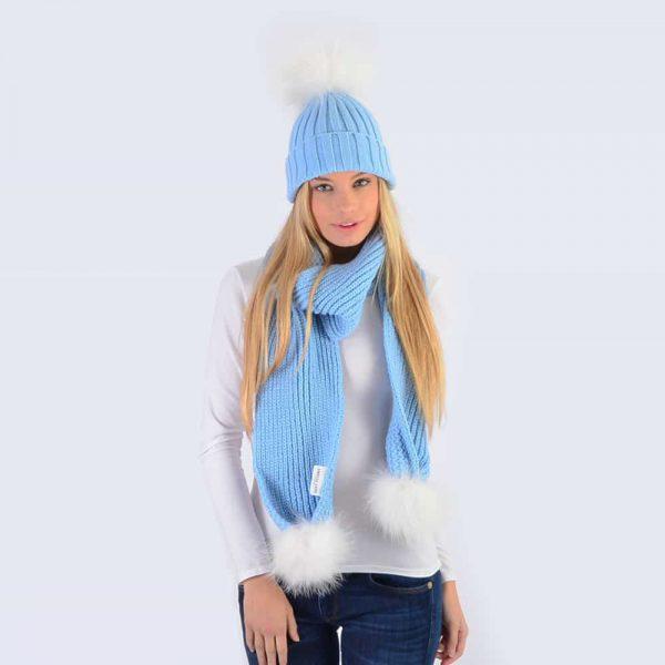 Sky Blue Set with White Fur Pom Poms