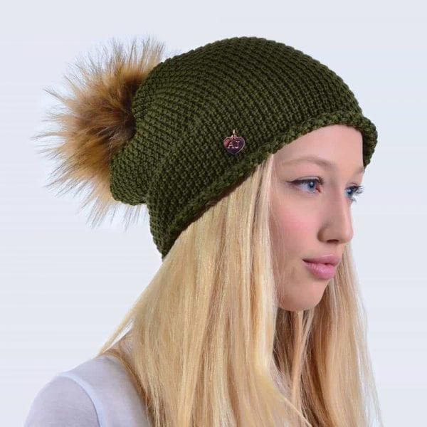 Merino Wool Khaki Slouch Hat with Brown Faux Fur Pom Pom » Amelia ... 322579b0ed8