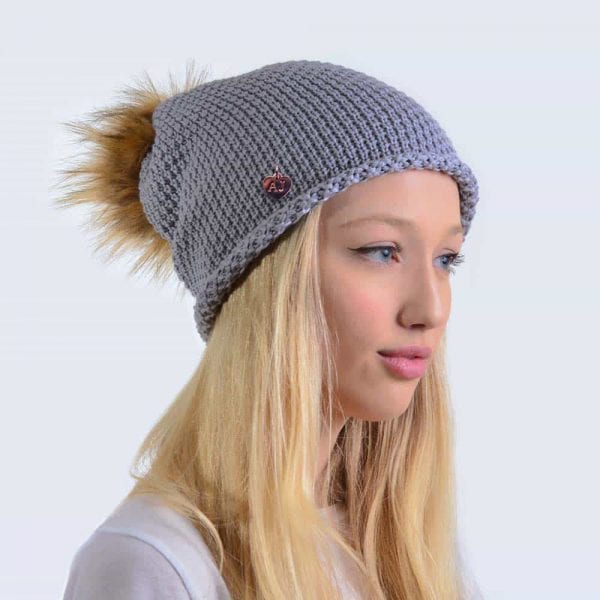 36791fa2b63 Merino Wool Light Grey Slouch Hat with Brown Faux Fur Pom Pom ...