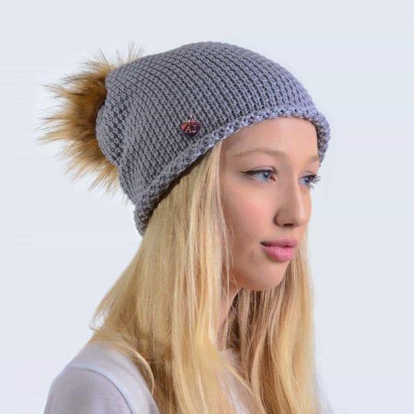 36791fa2b63 Merino Wool Light Grey Slouch Hat with Brown Faux Fur Pom Pom ...