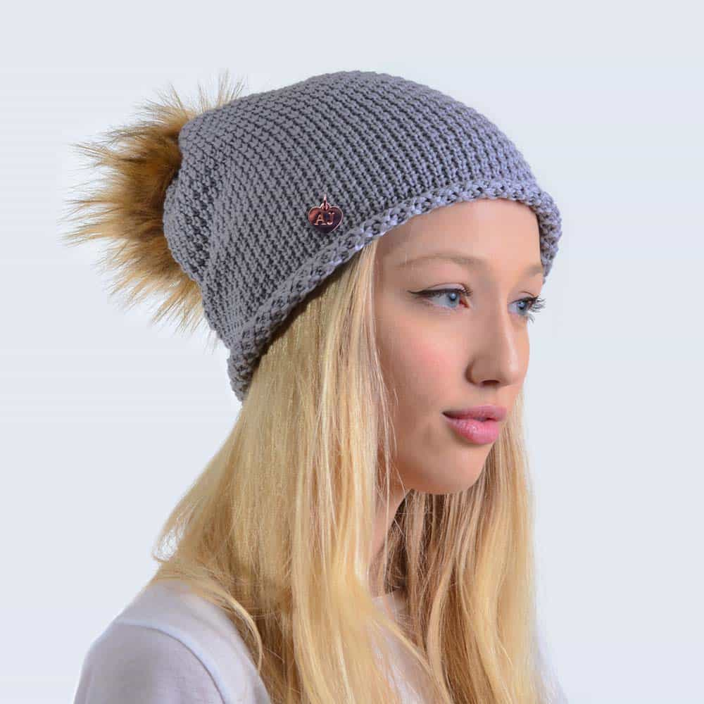 7ccd8a949 Merino Wool Light Grey Slouch Hat with Brown Faux Fur Pom Pom
