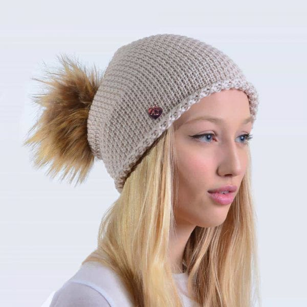 Merino Wool Oatmeal Slouch Hat with Brown Faux Fur Pom Pom » Amelia ... 82236c90b95