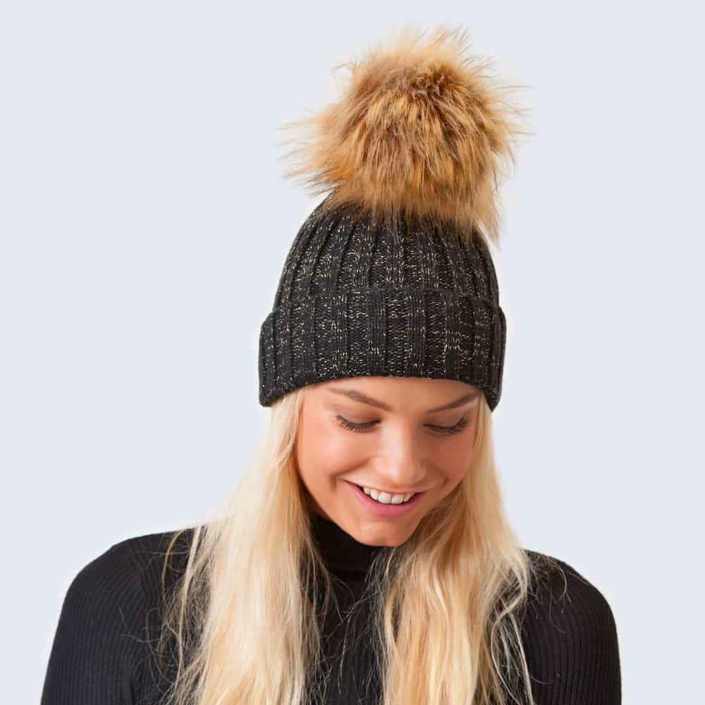 Sparkle Hat Black and Gold with Brown Faux Fur Pom Pom