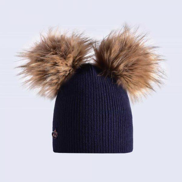 Navy Hat with Brown Faux Fur Poms » Amelia Jane London e354114b500
