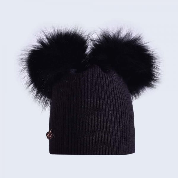 Black Hat with Black Fur Pom Poms » Amelia Jane London f7e5b07de3c