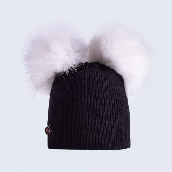 61751813ddd Black Hat with White Fur Pom Poms » Amelia Jane London