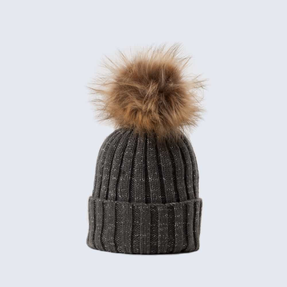 Sparkle Hat Grey and Silver with Brown Faux Fur Pom Pom
