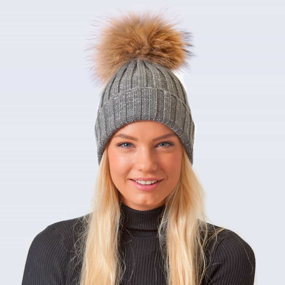 Sparkle Hat Grey and Silver with Brown Fur Pom Pom