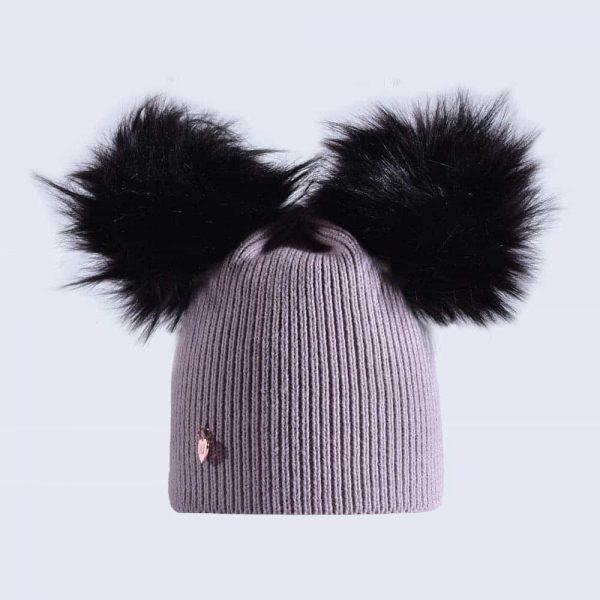 d4635f7ee Light Grey Hat with Black Faux Fur Poms