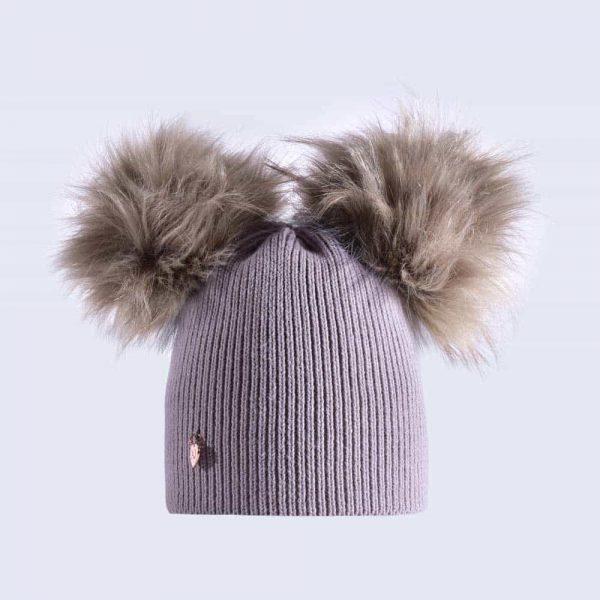 c106c906852 Light Grey Hat with Grey Faux Fur Poms » Amelia Jane London