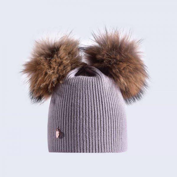 f08c6b4285e Light Grey Hat with Brown Fur Poms » Amelia Jane London