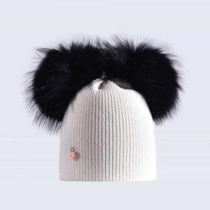 5cad3e214a7 Ivory Hat with Black Fur Poms » Amelia Jane London