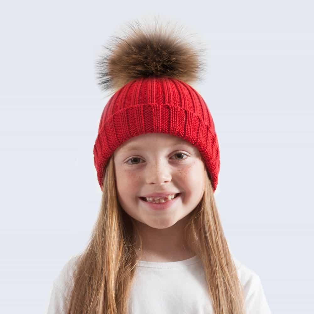 Tiny Tots Merino Wool Fur Pom Pom Hat Advent Red