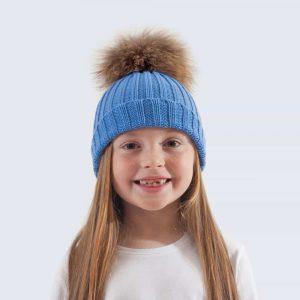 Tiny Tots Merino Wool Fur Pom Pom Hat Alice Blue