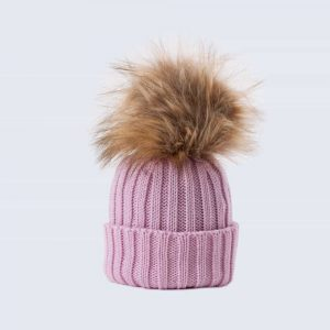 Tiny Tots Merino Wool Faux Fur Pom Pom Hat Lilac Sky