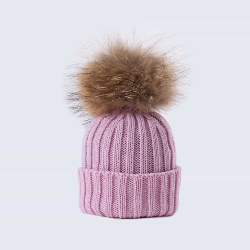 Tiny Tots Merino Wool Fur Pom Pom Hat Lilac Sky
