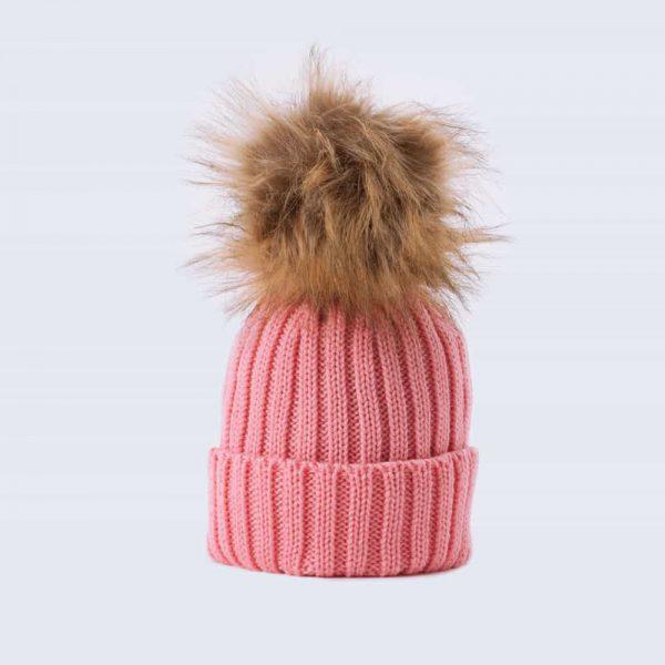 Tiny Tots Merino Wool Faux Fur Pom Pom Hat Rose Petal