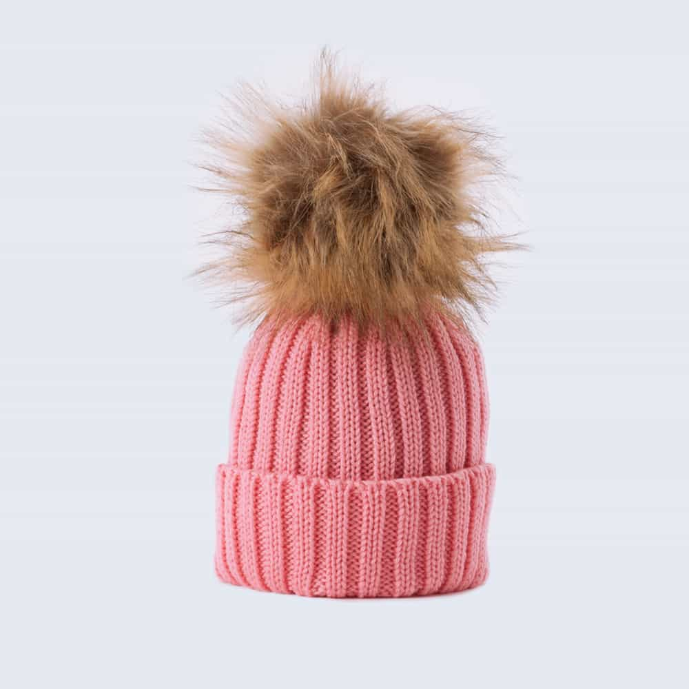 Tiny Tots Merino Wool Faux Fur Pom Pom Hat Rose Petal