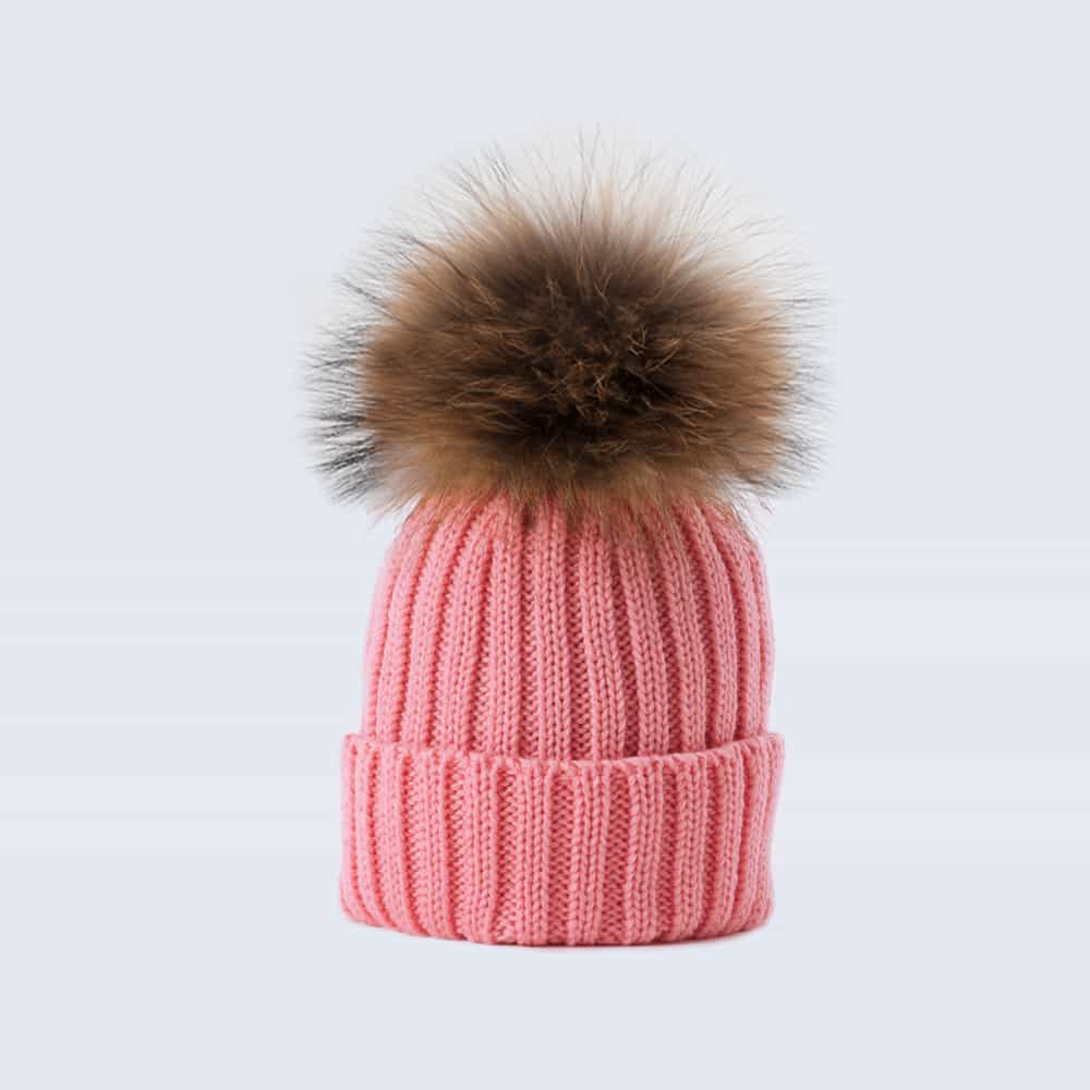 Tiny Tots Merino Wool Fur Pom Pom Hat Rose Petal