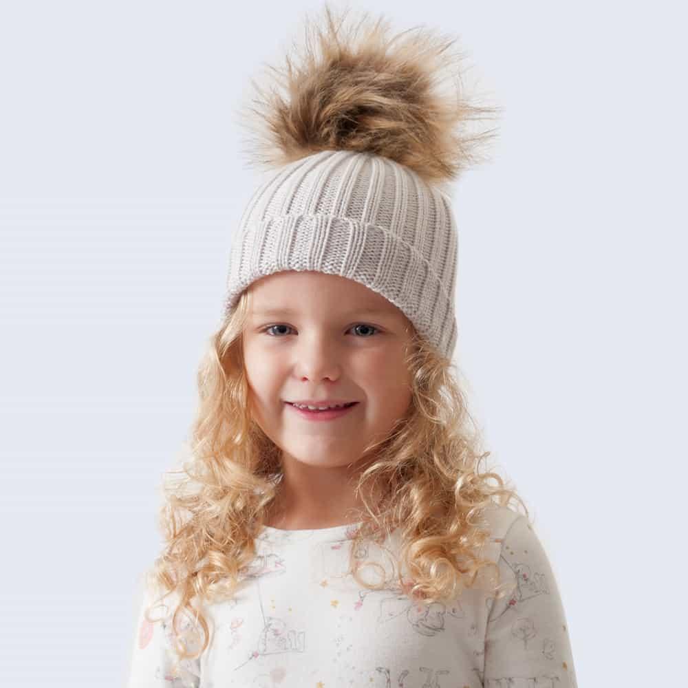 Tiny Tots Merino Wool Faux Fur Pom Pom Hat Vanilla Latte