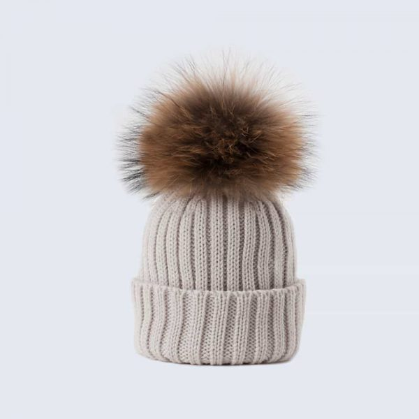 Tiny Tots Merino Wool Fur Pom Pom Hat Vanilla Latte