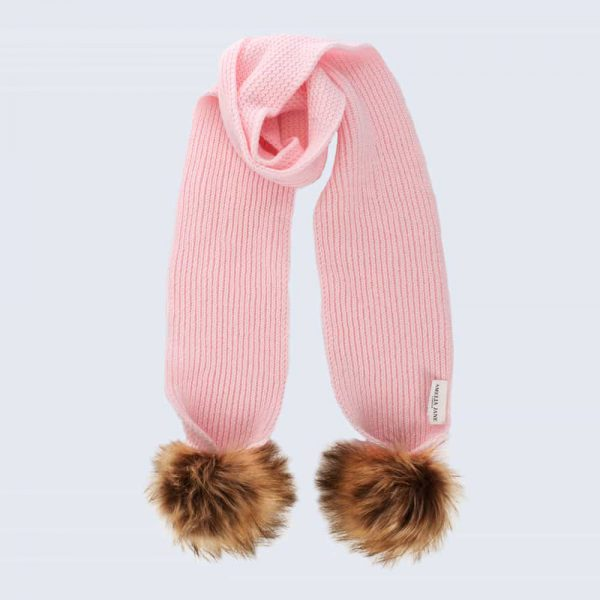 Tiny Tots Candy Pink Scarf with Brown Faux Fur Pom Poms