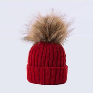 Tiny Tots Merino Wool Faux Fur Pom Pom Hat Advent Red
