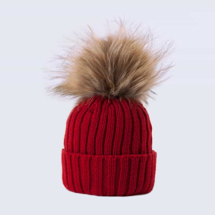 Tiny Tots Merino Wool Faux Fur Pom Pom Hat Advent Red