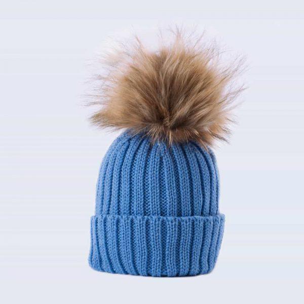 Tiny Tots Merino Wool Faux Fur Pom Pom Hat Alice Blue