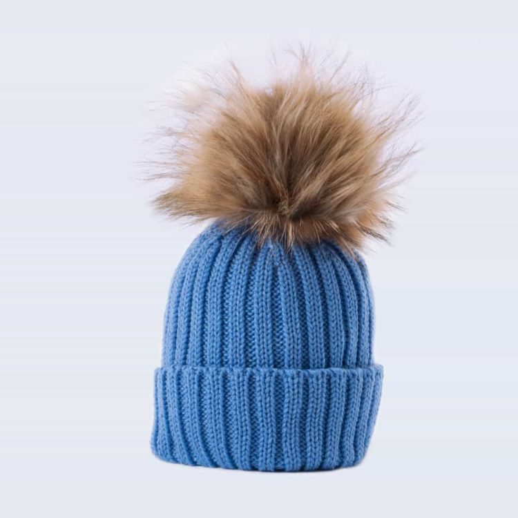 Tiny Tots Merino Wool Faux Fur Pom Pom Hat Alice Blue