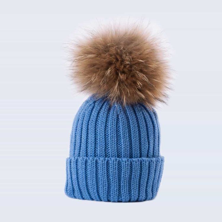 Tiny Tots Merino Wool Fur Pom Pom Hat Alice Blue