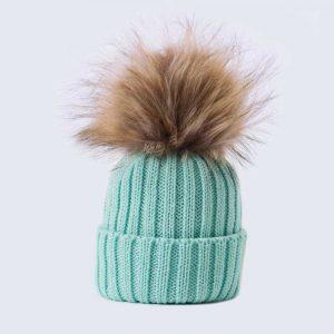 Tiny Tots Merino Wool Faux Fur Pom Pom Hat Mermaid Spell