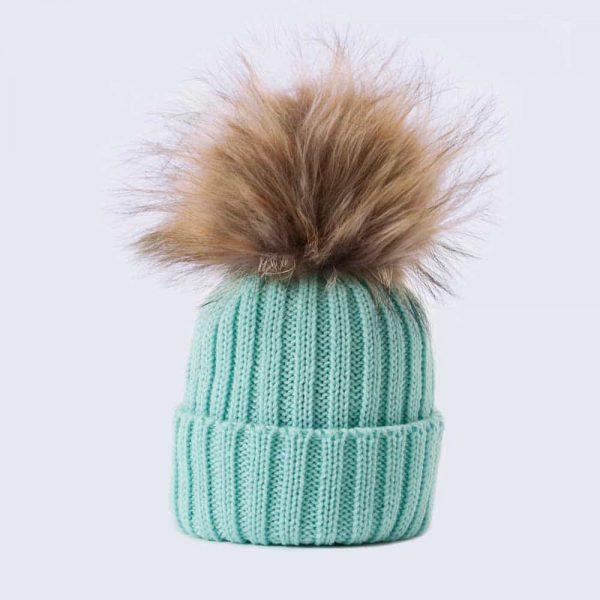 Tiny Tots Merino Wool Faux Fur Pom Pom Hat Mermaid Spell