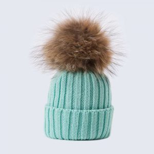 Tiny Tots Merino Wool Fur Pom Pom Hat Mermaid Spell